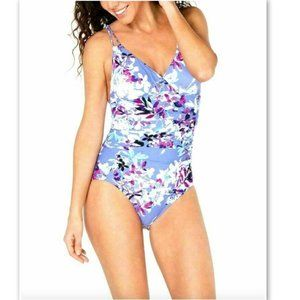 NWT Calvin Klein Shirred Floral 1pc Swimsuit 4 &12